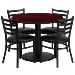 MFO 36'' Round Mahogany Laminate Table Set with 4 Ladder Back Metal Chairs - Black Vinyl Seat