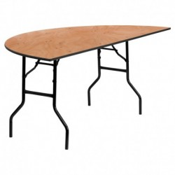 MFO 72'' Half-Round Wood Folding Banquet Table