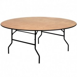 MFO 72'' Round Wood Folding Banquet Table with Clear Coated Finished Top