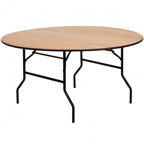 MFO 60'' Round Wood Folding Banquet Table with Clear Coated Finished Top