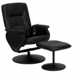 MFO Massaging Black Leather Recliner and Ottoman with Leather Wrapped Base