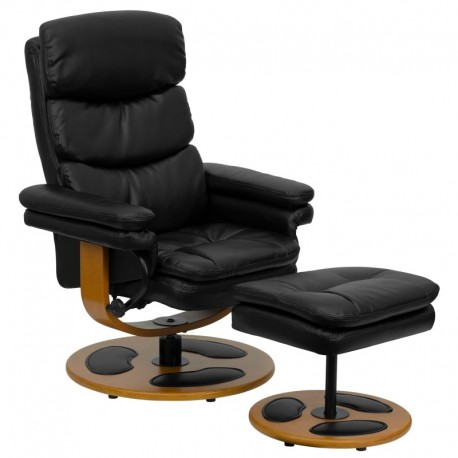 MFO Contemporary Black Leather Recliner and Ottoman with Wood Base