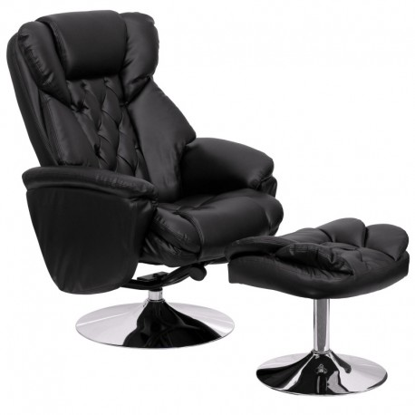 MFO Transitional Black Leather Recliner and Ottoman with Chrome Base