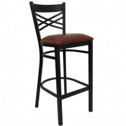 MFO Black ''X'' Back Metal Restaurant Bar Stool - Burgundy Vinyl Seat