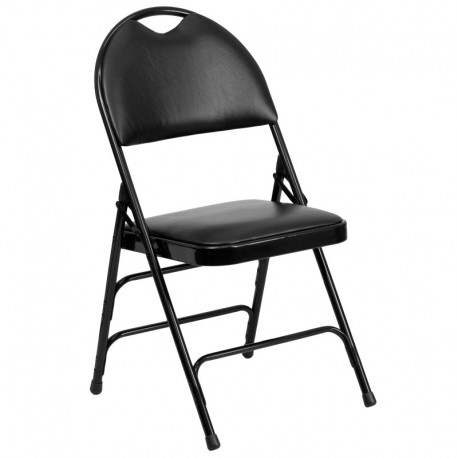 MFO Extra Large Ultra-Premium Triple Braced Black Vinyl Metal Folding Chair with Easy-Carry Handle