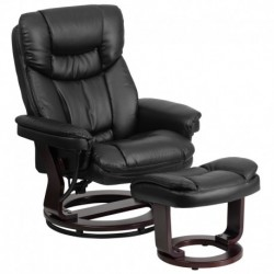 MFO Contemporary Black Leather Recliner and Ottoman with Swiveling Mahogany Wood Base