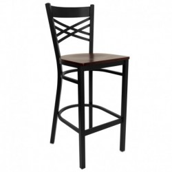MFO Black ''X'' Back Metal Restaurant Bar Stool - Mahogany Wood Seat