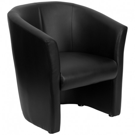 MFO Black Leather Barrel-Shaped Guest Chair