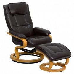 MFO Contemporary Brown Leather Recliner and Ottoman with Swiveling Maple Wood Base