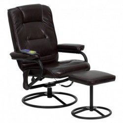MFO Massaging Brown Leather Recliner and Ottoman with Metal Bases