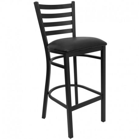 MFO Black Ladder Back Metal Restaurant Bar Stool - Black Vinyl Seat
