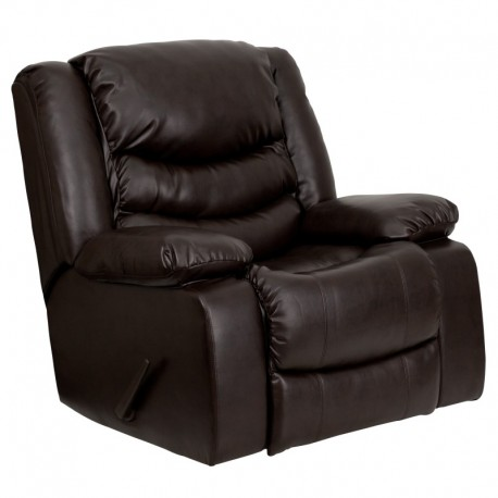 MFO Plush Brown Leather Lever Rocker Recliner with Padded Arms