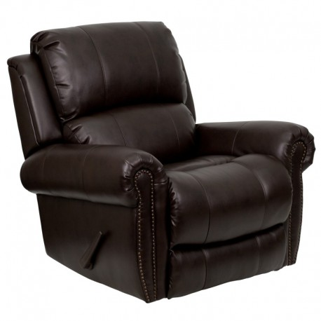 MFO Plush Brown Leather Lever Rocker Recliner with Brass Accent Nails