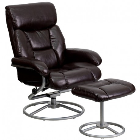 MFO Contemporary Brown Leather Recliner and Ottoman with Metal Base
