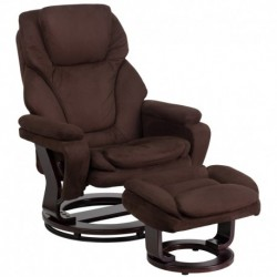 MFO Contemporary Brown Microfiber Recliner and Ottoman with Swiveling Mahogany Wood Base