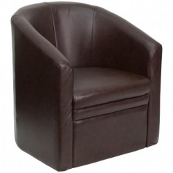 MFO Brown Leather Barrel-Shaped Guest Chair