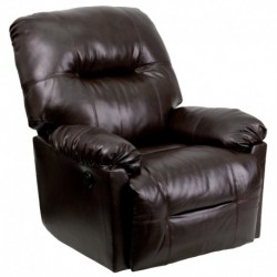 MFO Contemporary Bentley Brown Leather Chaise Rocker Recliner