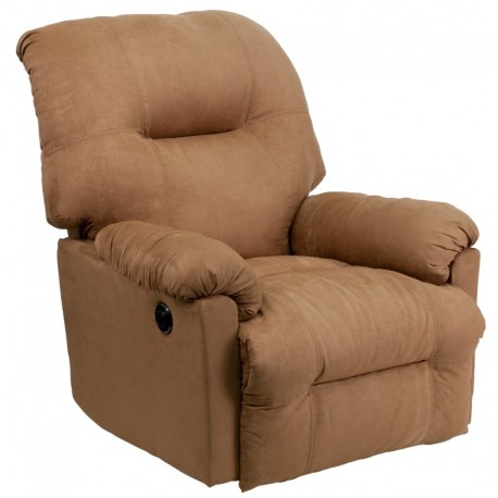 MFO Contemporary Calcutta Camel Microfiber Power Chaise Recliner with Push Button