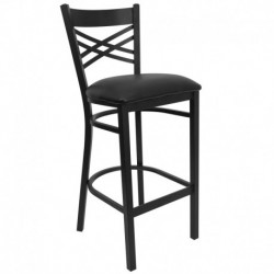 MFO Black ''X'' Back Metal Restaurant Bar Stool - Black Vinyl Seat