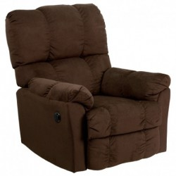 MFO Contemporary Top Hat Chocolate Microfiber Power Recliner with Push Button