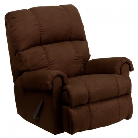 MFO Contemporary Flatsuede Chocolate Microfiber Rocker Recliner