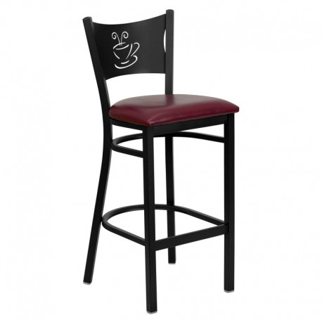 MFO Black Coffee Back Metal Restaurant Bar Stool - Burgundy Vinyl Seat