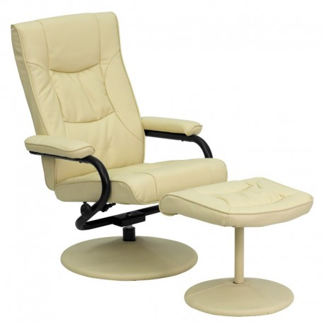MFO Contemporary Cream Leather Recliner and Ottoman with Leather Wrapped Base
