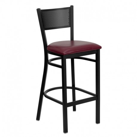 MFO Black Grid Back Metal Restaurant Bar Stool - Burgundy Vinyl Seat