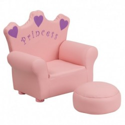MFO Kids Pink Princess Chair and Footrest