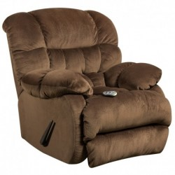 MFO Massaging Sharpei Espresso Microfiber Recliner with Heat Control