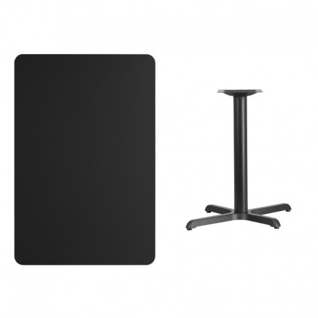 MFO 30'' x 45'' Rectangular Black Laminate Table Top with 22'' x 30'' Table Height Base
