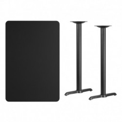 MFO 30'' x 45'' Rectangular Black Laminate Table Top with 5'' x 22'' Bar Height Table Bases