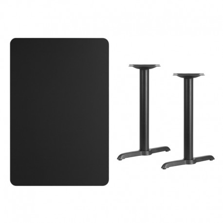 MFO 30'' x 45'' Rectangular Black Laminate Table Top with 5'' x 22'' Table Height Bases