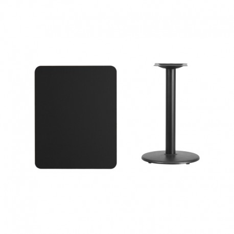 MFO 24'' x 30'' Rectangular Black Laminate Table Top with 18'' Round Table Height Base