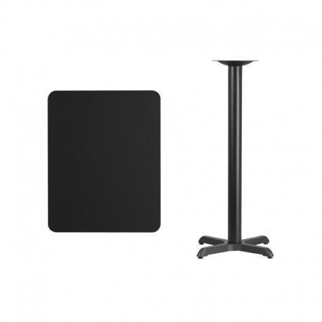 MFO 24'' x 30'' Rectangular Black Laminate Table Top with 22'' x 22'' Bar Height Table Base