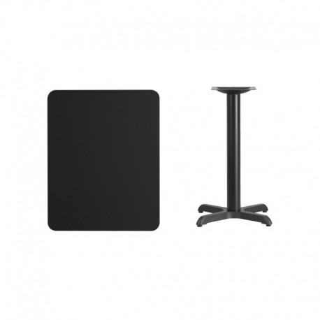 MFO 24'' x 30'' Rectangular Black Laminate Table Top with 22'' x 22'' Table Height Base