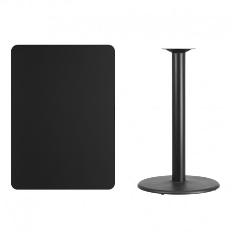 MFO 30'' x 42'' Rectangular Black Laminate Table Top with 24'' Round Bar Height Table Base