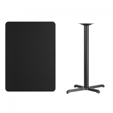 MFO 30'' x 42'' Rectangular Black Laminate Table Top with 22'' x 30'' Bar Height Table Base