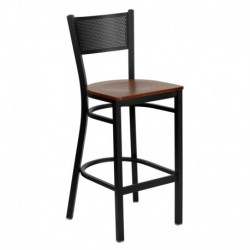 MFO Black Grid Back Metal Restaurant Bar Stool - Cherry Wood Seat