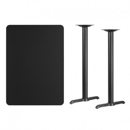 MFO 30'' x 42'' Rectangular Black Laminate Table Top with 5'' x 22'' Bar Height Table Bases