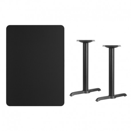 MFO 30'' x 42'' Rectangular Black Laminate Table Top with 5'' x 22'' Table Height Bases