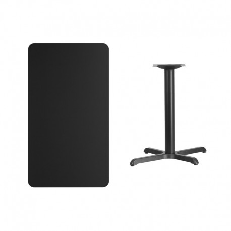 MFO 24'' x 42'' Rectangular Black Laminate Table Top with 22'' x 30'' Table Height Base