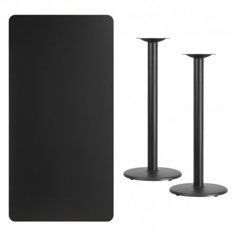 MFO 30'' x 60'' Rectangular Black Laminate Table Top with 18'' Round Bar Height Table Bases