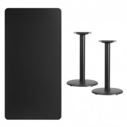 MFO 30'' x 60'' Rectangular Black Laminate Table Top with 18'' Round Table Height Bases