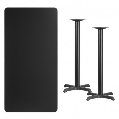 MFO 30'' x 60'' Rectangular Black Laminate Table Top with 22'' x 22'' Bar Height Table Bases