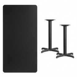 MFO 30'' x 60'' Rectangular Black Laminate Table Top with 22'' x 22'' Table Height Bases