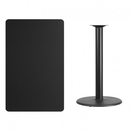 MFO 30'' x 48'' Rectangular Black Laminate Table Top with 24'' Round Bar Height Table Base