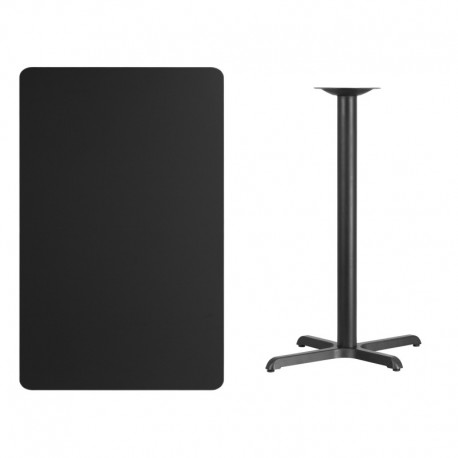 MFO 30'' x 48'' Rectangular Black Laminate Table Top with 22'' x 30'' Bar Height Table Base