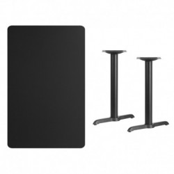 MFO 30'' x 48'' Rectangular Black Laminate Table Top with 5'' x 22'' Table Height Bases