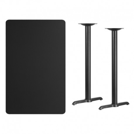 MFO 30'' x 48'' Rectangular Black Laminate Table Top with 5'' x 22'' Bar Height Table Bases